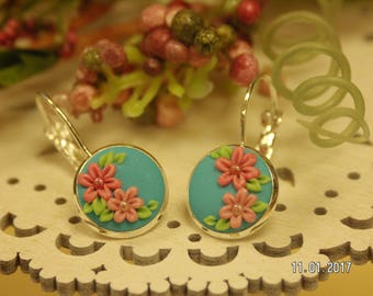 Turquoise, Coral & Peach Floral Earrings