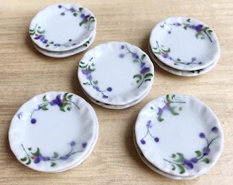 5 Pcs.Miniatue plate,mini ceramic plate,miniature food plate,cake plate,small plate,dollhouse plate,dollhouse miniarue plate
