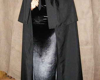 Double Hooded Black Cape, Maxi Cape, Unisex Hooded Cloak