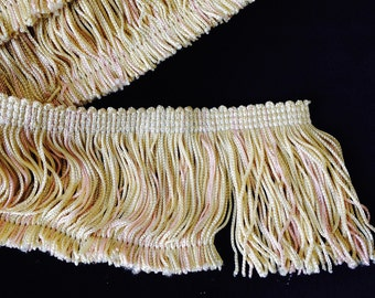 """Pink and Pale Yellow Chainette Fringe, 2.5"""" long, rayon, offering in 8 yd. increments, 4 lots available."""