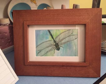 Vintage Dragonfly art framed insect  painting decoupage dragonflies collage