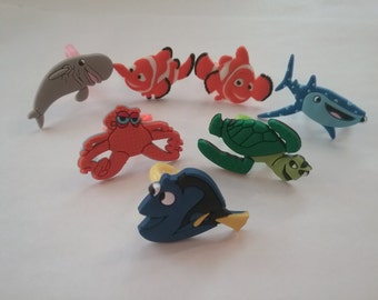 Finding Nemo Dory Party Favor Cupcake Toppers Rings 7 Pieces