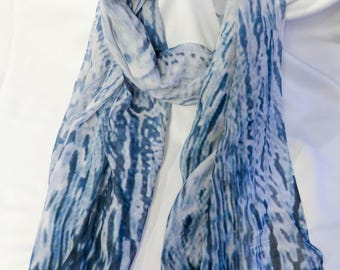 Navy Blue Scarf ~ Abstract Print ~ Modal Cashmere Scarf, Gift for Woman, White Scarf, Wearable Art Scarf, Long Scarf, Lightweight Scarf VIDA