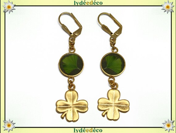 Lucky Golden brass gold 24 carat earrings 24 k 4 clover leaf tree Japan Ginko resin lime green