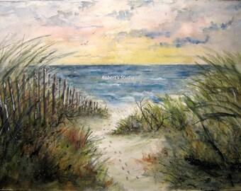 Beachscape, Original Watercolor Landscape Painting, 14x20, seascape painting, beach shore, ocean waves, sand dunes, beach painting.