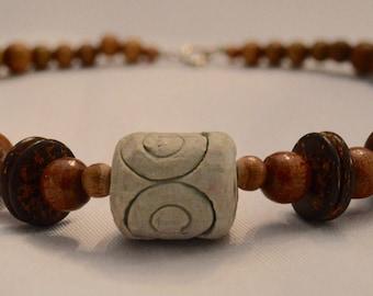 Ceramic and wood bead choker