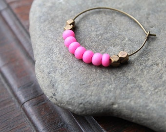 Kalimantan Antique Brass Creole Hoops with Matte Neon Pink Glass and Faceted Brass Beads - Matches Kalimantan Bracelet