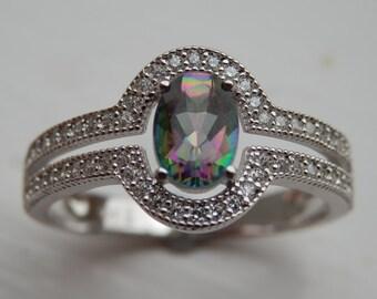 Art Deco Mystic Topaz Ring