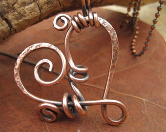 Copper Swirling Heart Pendant