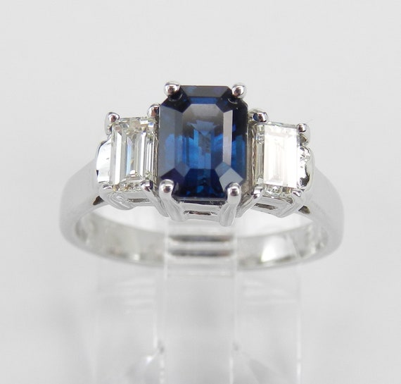 14K White Gold Sapphire Diamond Three Stone Engagement Ring Emerald Cut Size 5