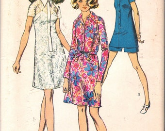 "Vintage 1970 Simplicity 8687 Shirt-Dress or Tunic & Shorts Sewing Pattern Size 14 Bust 36"" Waist 27"""