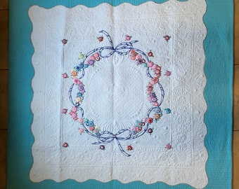 Vintage Linen Hand Embroidered Quilt
