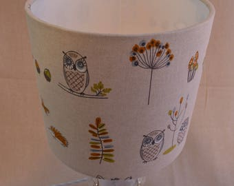 Owl and Fox Print 20cm Drum Lampshade