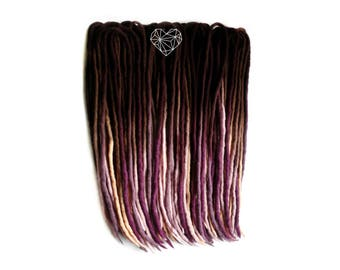 10/20/30/40/50 DE /  wool dreads dreadlocks/ OMBRE / hand dyed /  double ended / 21 inches / dreadlocks extentions
