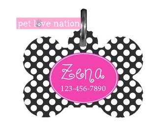Personalized Pet Tag, Dog Tag, ID Tag, Black  And White Polka Dots Pet Tag With Name And Phone Number  -  #10