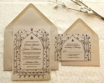 Once Upon a Time Kraft Garden Printable Wedding Invitations - Fantasy Wedding - Castle Wedding - Fairy tale Wedding - Garden Wedding