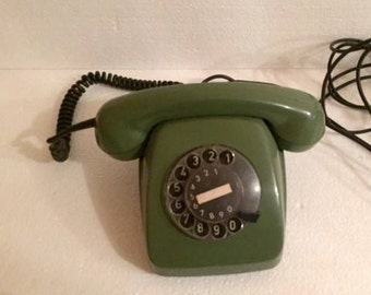 Sale -Vintage green rotary telephone/ mid century modern home decor