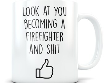 Firefighter graduation gift,  Firefighter gifts for men and women. Firefighter mug, Volunteer Firefighter gift, Fireman gifts, Fireman mug