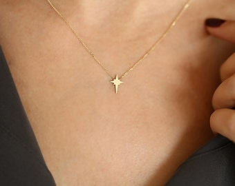 Starburst necklace etsy starburst necklace gold starburst necklace 14k gold north star pendant necklace minimalist tiny mozeypictures Images