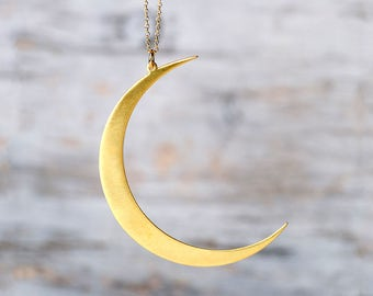 Extra Large Moon Necklace Golden Crescent Moon Necklace Moon Pendant Sterling Silver gold plated Statement Necklace Gift women Birthday