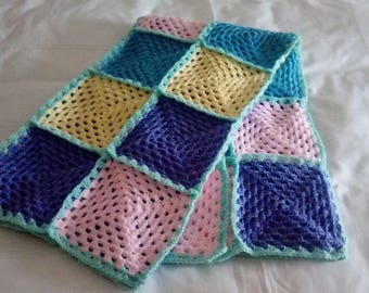 Handmade crocheted cot sized blanket - 5 colours - FREE P&P