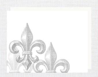 Personalized, stationery, Fleur-de-lis Note Cards