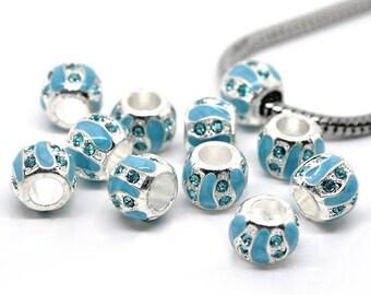 3 beads rhinestone blue enamel