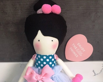 Hand made Rag Doll with a Tutu and a bow