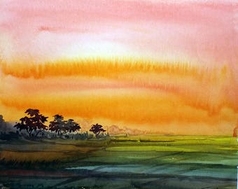 Sunset Rural Landscape -Original Watercolor Painting on paper