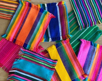 Mexican striped cocktail napkins, set of 6 assorted colors, Mexican fiesta decorations, party supplies from Mexico, hostess gifts under 15