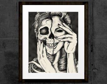 Beauty Skin Deep, Skull Pin Up Girl, Hand Drawn Black & White Illustration, art print, INSTANT DOWNLOAD