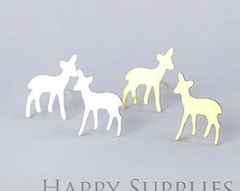 Nickel Free - High Quality Deer Dual-used Golden / Silver / Rose Gold Brass Earring Post Finding with Ear Studs Back Stopper (ZEN042)