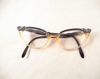 Cat Eye Eyeglasses, Rhinestones in Corners and Temples, Made by Comet, Dark Brown Black