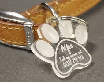 Personalised Paw Print Dog Tag | Clear