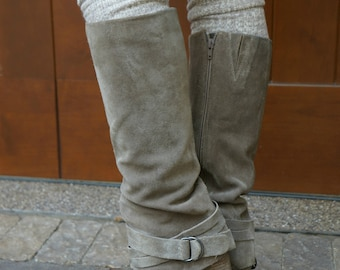 Luxe Legs - Heather Brown and Gray Thigh High Boot Socks- with Lace