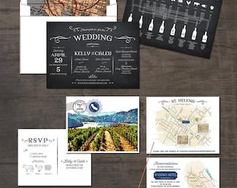 California Winery Watercolor Chalk Black Wedding Invitation Suite -  illustrated wedding invitation Deposit Payment