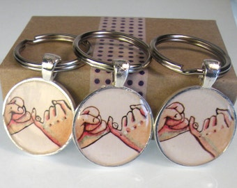 3 best friend keychains, pinky promise, hand painted