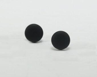 Black Stud Earrings - Black Studs - Matte Black Earrings - Black Posts - Mens Earrings - Mens Studs - Earrings for Men - Matte Black Studs