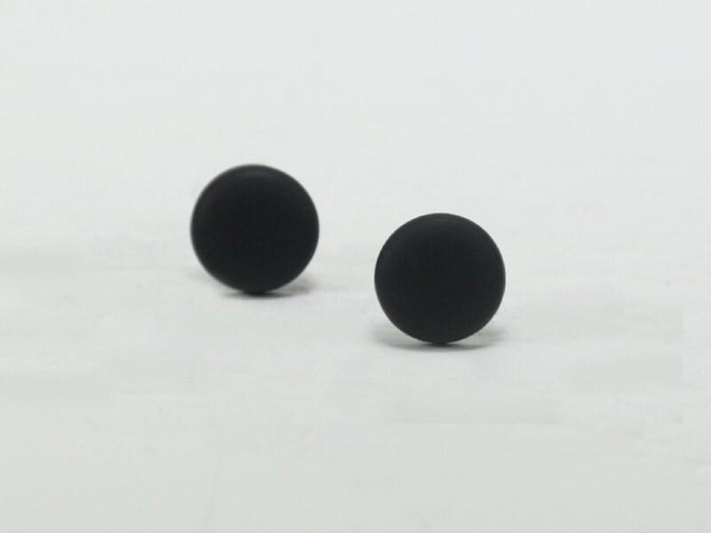 black stud earrings black studs matte black earrings