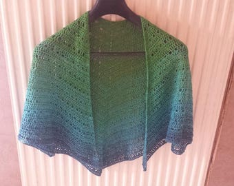 Crochet shawl in gradient green to blue cotton