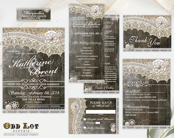 Rustic Wood Lace Wedding Stationery, Wedding Invitation, Printable wedding invitation, Rustic Invitation, Rustic Wedding ~ Wood Lace