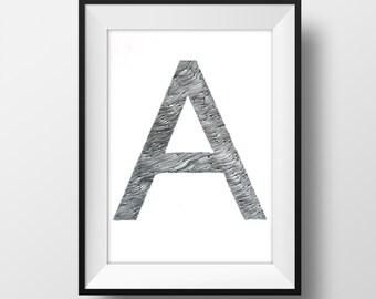 Custom Initial Letter Original Drawing - Personalized Art