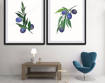 Set of 2 Olives Leaves Watercolor Art Prints  Olive Watercolor Wall Decor - Botanical Art Decor - Set # A