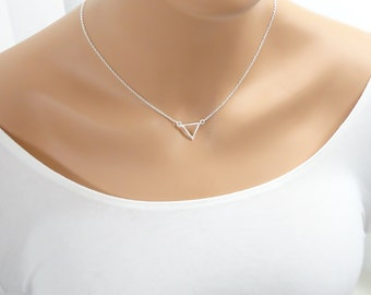 Triangle Necklace - Simple Minimal - Silver Triangle necklace