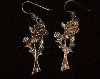 Short Stem Rose - Sterling Silver Dangle Earrings