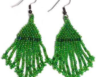 Green Tassel Earrings Beaded Fringe Native American Style Jewelry Boho Hippie Gypsy Beadwork Dangle Minimalist Western Southwestern Light