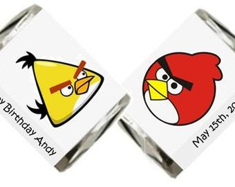 30 Angry Bird Personalized Birthday Hershey Nugget Candy Label Wrapper Favors
