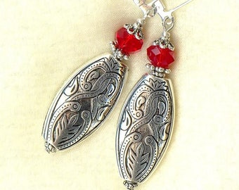 Earrings ARABESQUE Light SIAM Red Crystal OR293 ♥ ♥