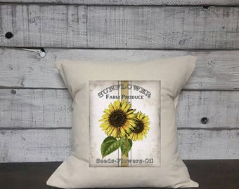 Sunflower Vintage Pillow Cover