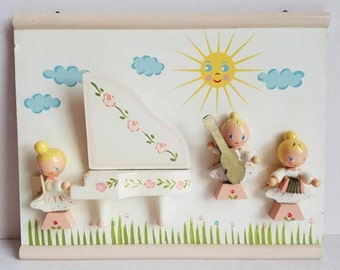 Vintage Irmi Wall Hanging - Angel Orchestra - Vintage Irmi Nursery - Midcentury Nursery - Nursery Plastics